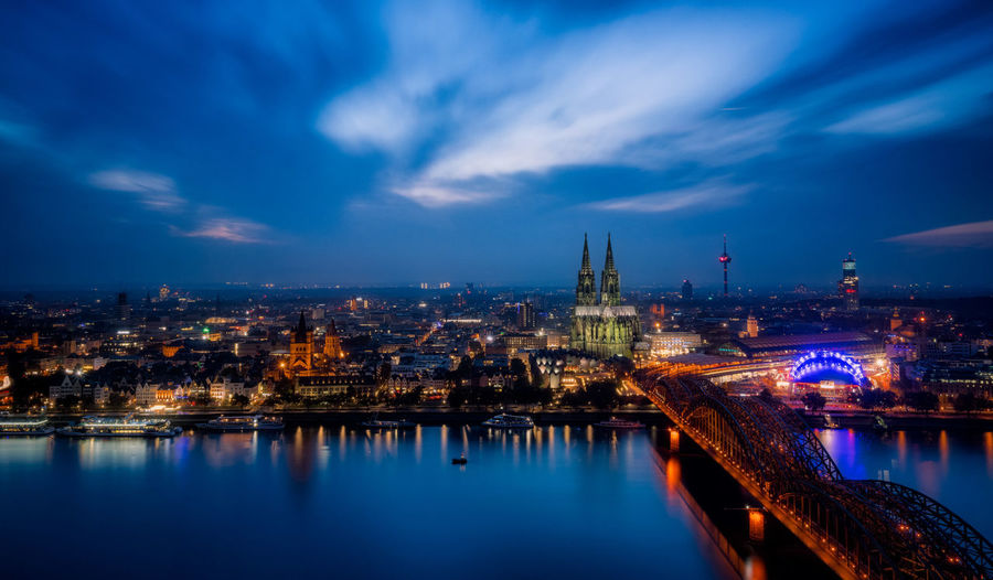 Cologne at night Cologne Green Cathedral Köln Kölner Dom World Heritage Architecture Bridge - Man Made Structure Cityscape Cloud - Sky Cologne Cathedral Outdoors Sky Travel Destinations Urban Skyline