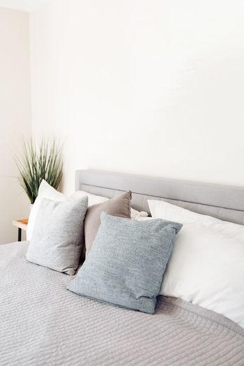 Tilt image of sofa on bed at home