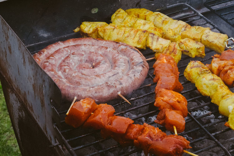 Barbecue Barbecue Grill Close-up Corn Day Food Food And Drink Freshness Grilled Healthy Eating Heat - Temperature High Angle View Indulgence Meat No People Outdoors Preparation  Preparing Food Sausage Snack Sweetcorn Vegetable