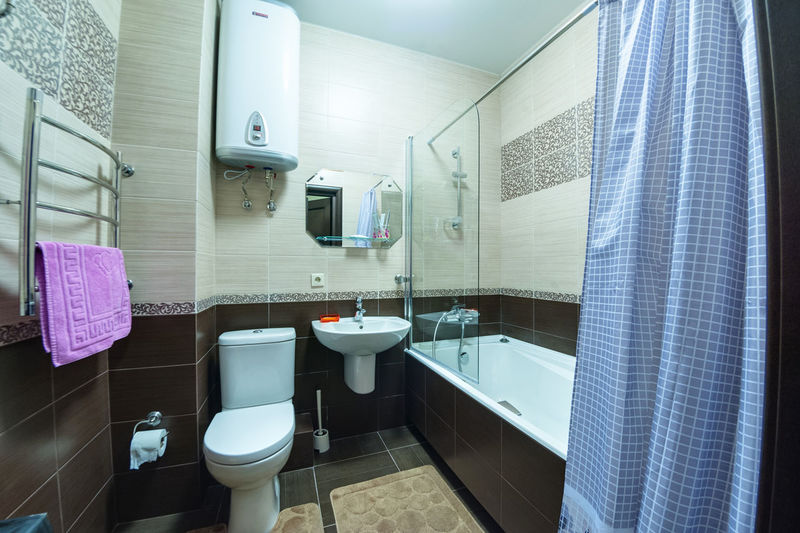 Bathroom Indoors  Domestic Room Home Domestic Bathroom Sink No People Home Interior Curtain Towel Mirror Home Showcase Interior Tile Hygiene Household Equipment Shower Flooring Reflection Furniture Glass - Material Modern Luxury Clean Tiled Floor