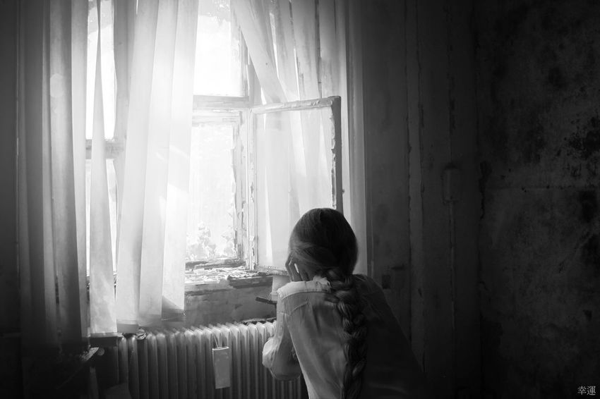 inner emptiness Room Window Curtain Light And Shadow Emptiness Girl Monochrome Monoart Lucky's Monochrome Black & White Black And White Fine Art EyeEm Best Edits NEM Silence Loneliness Sadness Solitude Isolation Young Adult Melancholy Tranquility Fragility Shootermag Lucky's Mood Mood