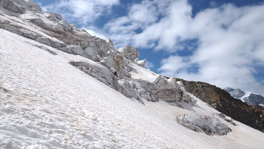 Scenic view of icefall against sky