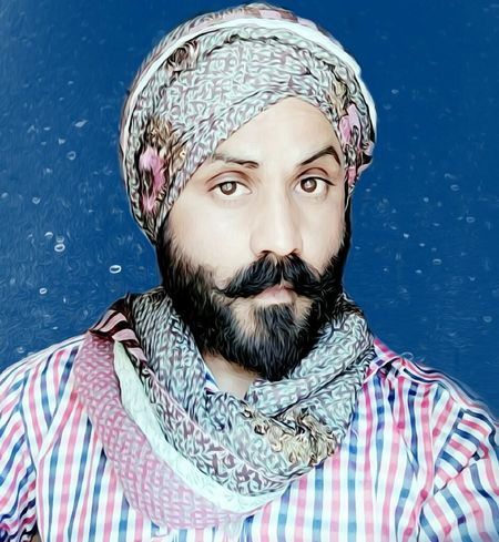 Beard Only Men Headshot Portrait One Man Only Blue Background Mustache Colored Background Looking At Camera Close-up People Day Lifestyles Style ✌ Bearded Dragon Blue Royalty Standing Turban TurbanFashion  Turbanlove Turbansingh Singh Backyard Background Texture RedmiNote RedMiNote4G64gb