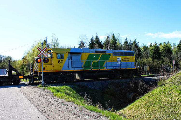 Roberval-Saguenay Saguenay, Québec, Canada Clear Sky Day Freight Train Freight Transportation Grass Land Vehicle Locomotive Mode Of Transport Nature No People Outdoors Rail Transportation Railroad Track Road Sky Sunlight Train - Vehicle Transportation Tree