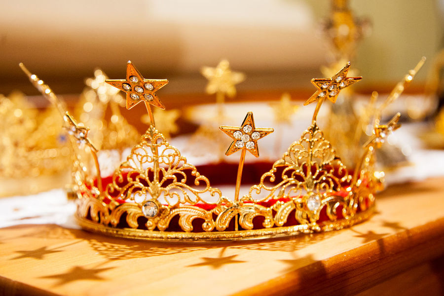 No People Close-up Crown Jewels Crown Jwellery Golden Color Red Details Focus On Foreground Detail Gold Luxury Gold Colored Table