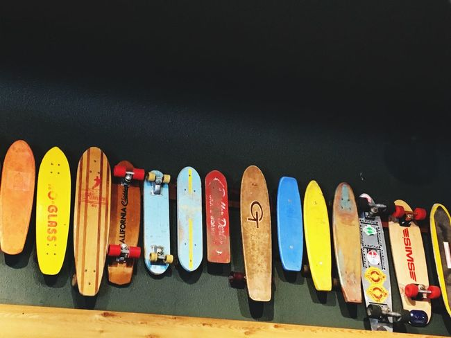 Vintage skateboards Out Door Adventures Wood - Material Vintage Skate Boarding  Multi Colored Text In A Row Variation No People Outdoors Day