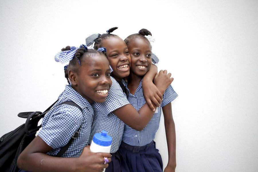 Portrait Togetherness Happiness Love Friendship People Young Women Smiling Haitian Girls School School Life  Affectionate Laughing Portauprince Life Haiti Child Childhood Children's Portraits Learning Education School Life  Real People EyeEmNewHere