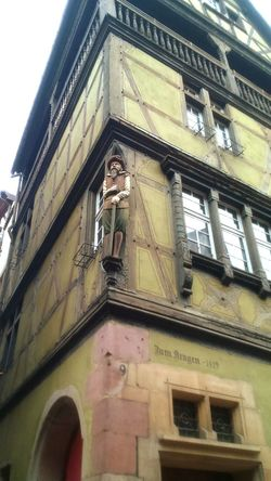Low Angle View Building Exterior Façade Window Statue Coloured Houses Alsace Green Detail Architecture France