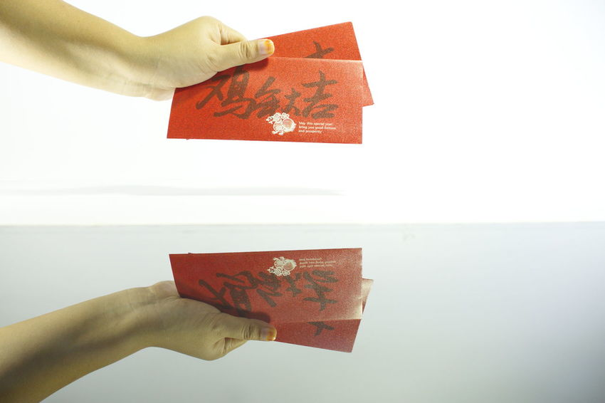 Angpow Red Money Ang Pows Chinese Chinese New Year Tradition Culture White Background Hands Giving Money Give Angpow Ang Pao! Ang Pao