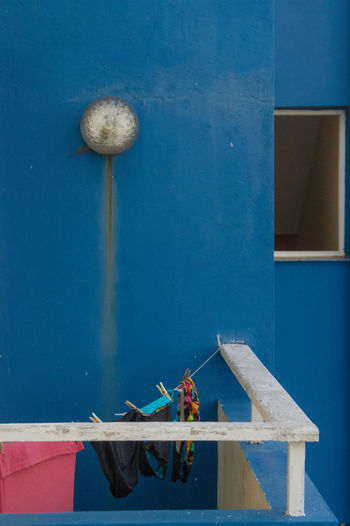 Cuba, Dec. 2016; The day before our flight back from Varadero After Sunrise Cuba Collection Morning Architecture Balcony Blue Blue Sky Built Structure Colorful Day Hotel Lamp Nature No People Outdoors Washing Line Water Window