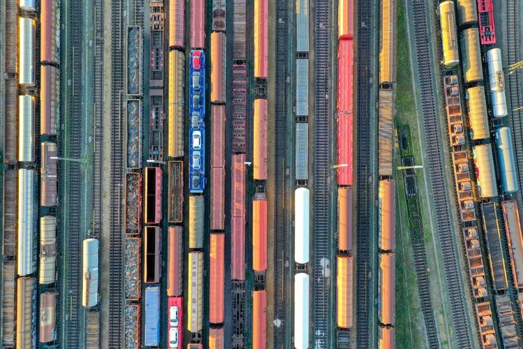 Aerial view of trains on tracks