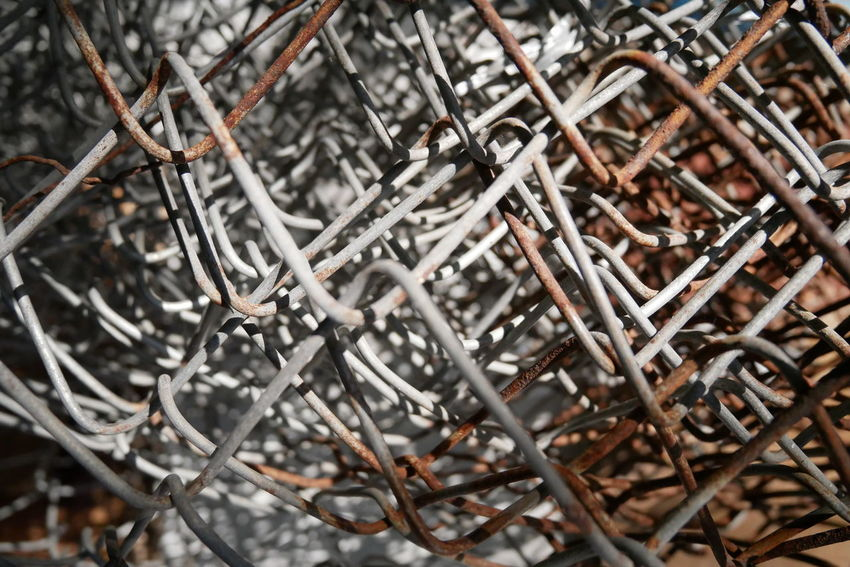 Abstract Abundance Backgrounds Close-up Day Dry Focus On Foreground Full Frame Large Group Of Objects Metal Net No People Obsolete Outdoors Rusty Rusty Metal Selective Focus Silver Colored