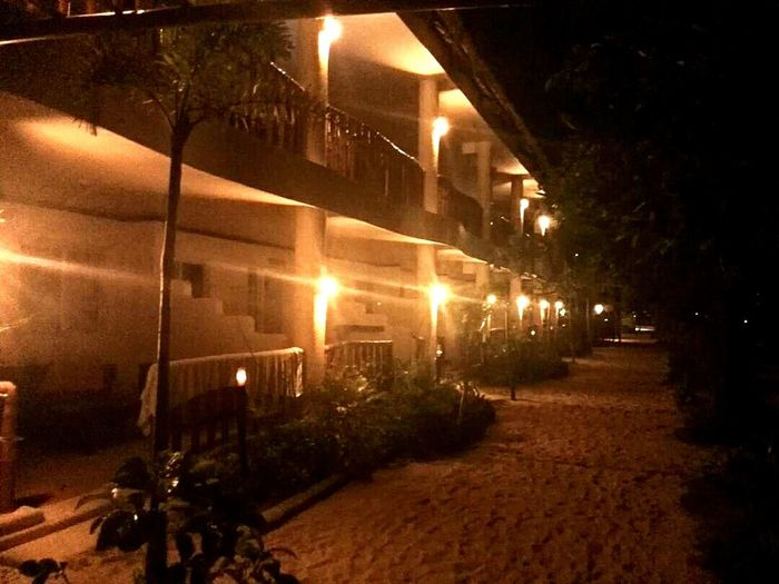 A hotel in Malapascua Philippines. Built Structure Illuminated Night Architecture No People Tree