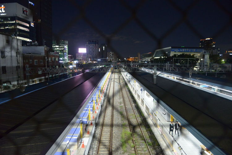 High angle view of railroad tracks at night in seoul