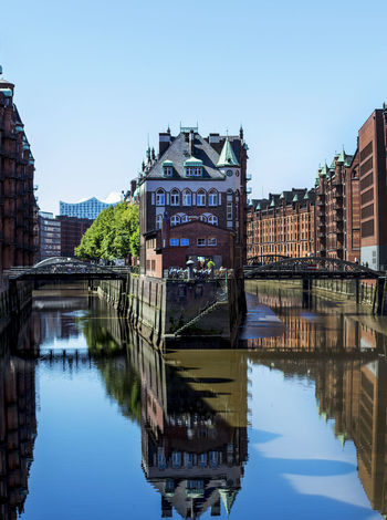 Hamburg Mirror Panorama Panoramic Reflection Speicherstadt Hamburg Architecture Axvo Bridge - Man Made Structure Building Exterior Built Structure City Clear Sky Day No People Outdoors Reflection Reflections Reflections In The Water River Sky Speicherstadt Travel Destinations Water Waterfront The Week On EyeEm The Week On EyeEm EyeEmNewHere