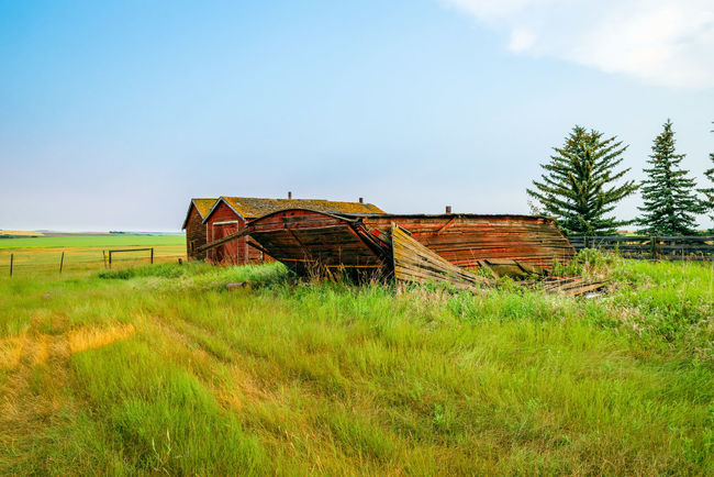 Done For Abandoned Agricultural Building Architecture Building Exterior Built Structure Day Deterioration Environment Field Grass Green Color House Land Landscape Nature No People Non-urban Scene Old Outdoors Plant Sky Tranquility Wood