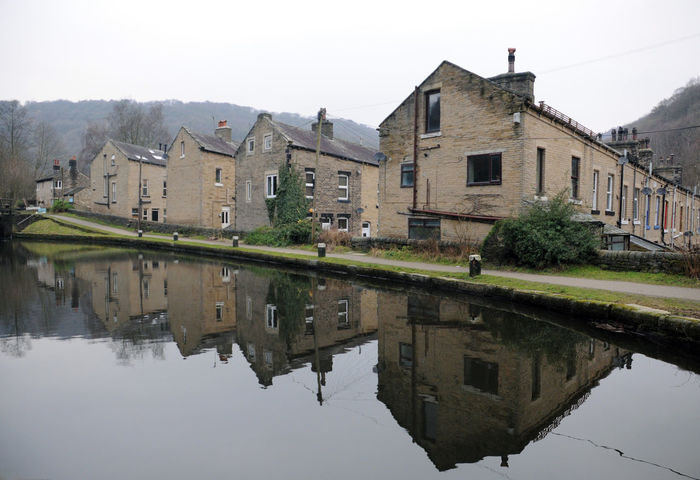 houses song the canal in hebden bridge Hebden Bridge Architecture Building Exterior Built Structure Canal Clear Sky Day Nature No People Outdoors Reflection Rochdale Canal Sky Terraced Houses Water Waterfront