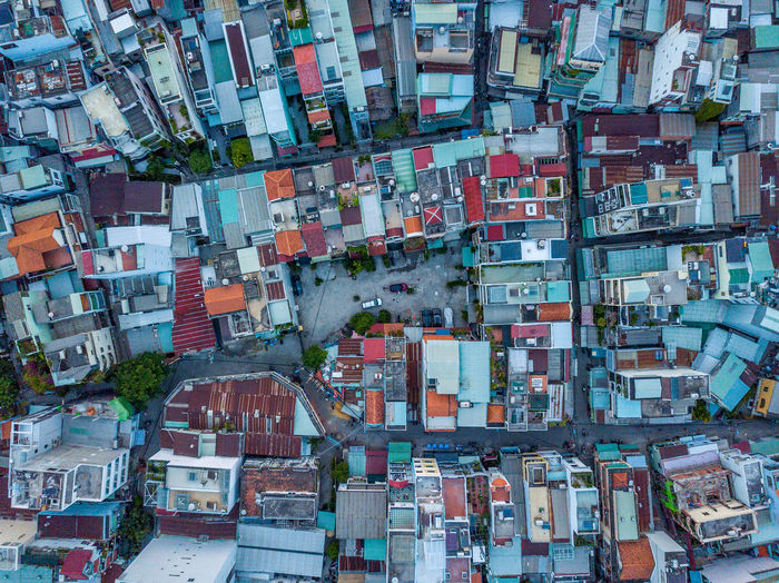 Aerial view of houses in city