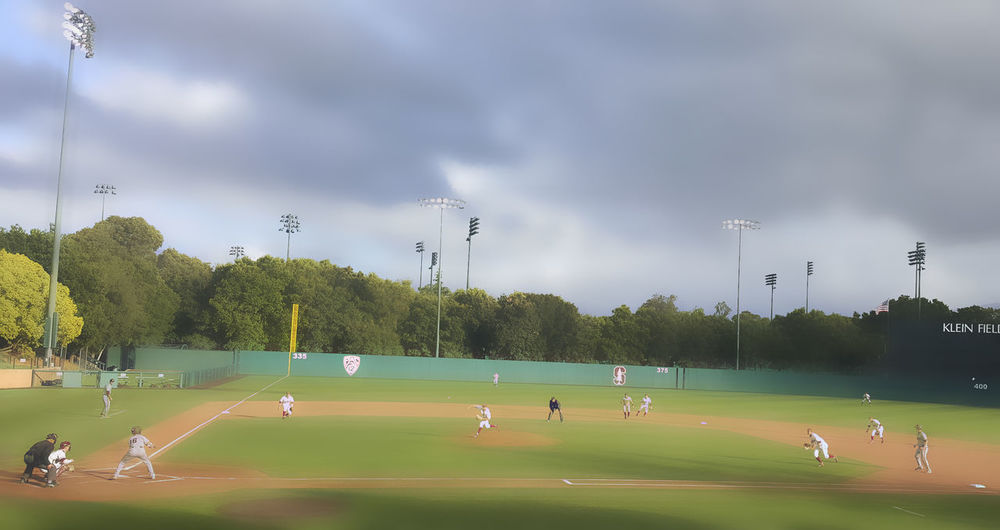 Baseball Field Baseball Game Beautiful Light And Shadow Cloud - Sky Cloudy Green Color Stanford University Sunken Diamond Weather