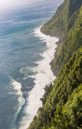Eastern coastline, steep cliffs, from ponta do arnel on sao miguel island, azores, portugal.