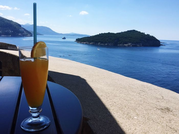 Fresh squeezed OJ on a hot summers day, along the old walls of Dubrovnik Orange Juice  Fresh Fresh Juice Hot Day Summer Dubrovnik Croatia Europe Sea Sea And Sky Blue Sea Travel Travel Photography