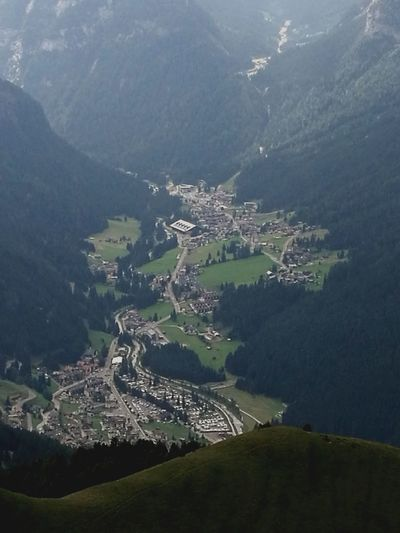 High angle view of buildings and mountains