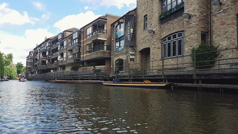 Architecture Building Exterior Sky Cloud - Sky Water Built Structure Travel Destinations History Day River Outdoors City Tree Nautical Vessel City Low Angle View Cambridgeshire Cambridge Cityscape Moored Waterfront Mode Of Transport Transportation Architecture