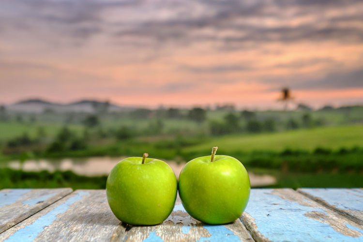 Two apples on wooden table in the sunlight with a blurred nature background. Apple - Fruit Beauty In Nature Close-up Day Focus On Foreground Food Food And Drink Freshness Fruit Green Color Healthy Eating Nature No People Outdoors Sky Sunset Water Wood - Material