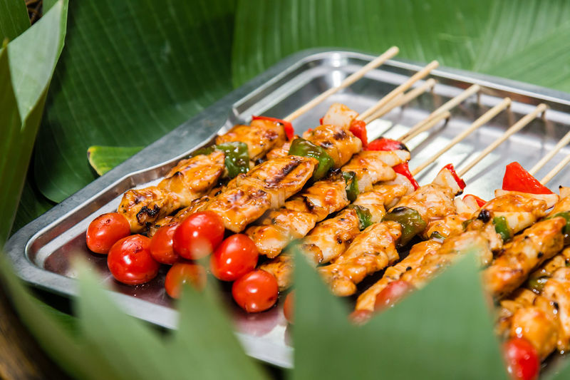 Barbecue ! BarbecueDay Barbecued Pork Banana Leaf Barbecue Barbecue Grill Barbecuechicken Barbecuetime Close-up Day Food Food And Drink Freshness Green Color Healthy Eating High Angle View Indoors  Leaf No People Plate Ready-to-eat