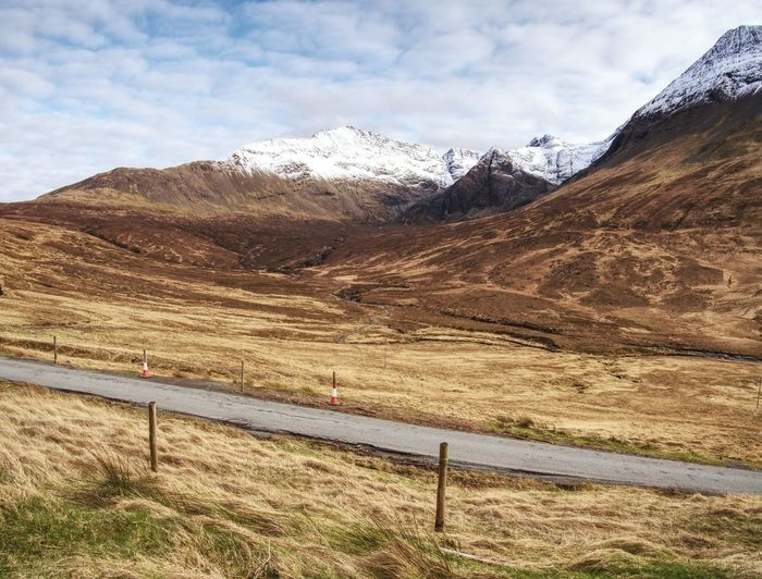Road at famous glencoe pass and a82 road in the highlands of scotland, from high above,