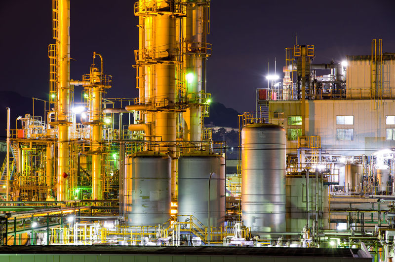 Industry Factory Fuel And Power Generation Building Exterior Night Illuminated Built Structure Architecture Smoke Stack Oil Industry Industrial Building  Complexity Glowing Nature No People Outdoors Refinery Sky Business Oil Refinery Chemical Plant Distillation Pollution Silver Colored Japan Japan Photography Fuji-shi Nightphotography Night Photography