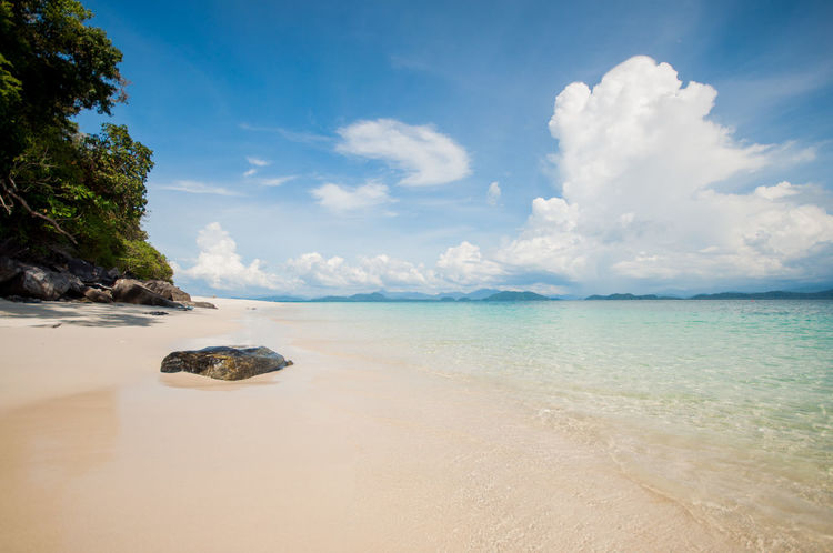 Clear Sky Summertime Beach Beach Day Beautiful Sea Beauty In Nature Big Clouds Clear Sea Cloud - Sky Day Horizon Over Water Nature No People Outdoors Rock - Object Sand Scenics Sea Sea In Thailand Sky Summer Tranquil Scene Tranquility Travel Destinations Water