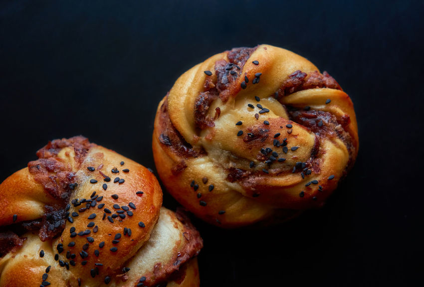 Red bean danish Baked Baked Pastry Item Bakery Black Background Black Sesame Close-up Danish Danish Pastry Day Food Food And Drink Freshness Healthy Eating No People Ready-to-eat Red Beans Bread🍘 Sesame Seed Studio Shot Twist