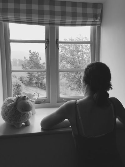 Blackandwhite Window Girl