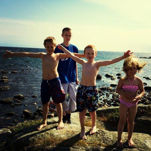 Fiskar krabbor på Getterön. Sea Varberg Children Sweden