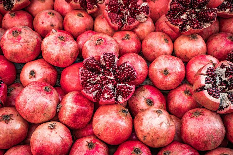 Full frame shot of pomegranate for sale at market stall