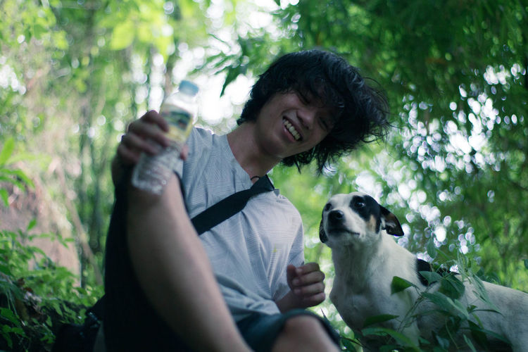 Dave and dog Dog Friendship Bonding Love Outdoors Forest Nature Green Smiling Philippines EyeEm Selects Sommergefühle