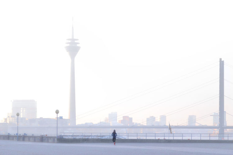 Frühsport, Duesseldorf, Germany Architecture Blue City Life Deutschland Duesseldorf Düsseldorf Fog Foggy Morning Germany Jogging Morning Morning Exercises Nebel Pastel Power Rhein Rheinturm  Rheinufer Sport Lost In The Landscape