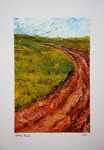 """""""Rutted Road"""" original acrylic on canvas dated April 11, 2009 by Thomas E. McCutcheon (1949 - 2010). 2009 Acrylic Acrylic Painting Art Brown Day Landscape Nature No People Original Outdoors Painting Road Textured  Thomas E. McCutcheon"""