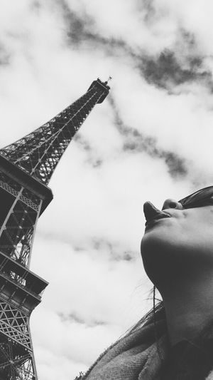 M A R B L E T O N G U E Sky One Person Day Low Angle View Architecture Outdoors Building Exterior Real People Built Structure Cloud - Sky Person Paris Eiffel Tower Tongue