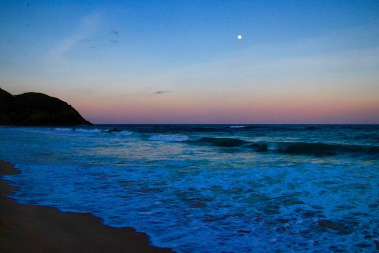 Sunset or Moonrise? Ocean Sea Water Sky Scenics - Nature Beauty In Nature Land Beach Tranquil Scene Horizon Horizon Over Water Tranquility Sunset Nature Motion Dusk Rock No People Idyllic Moon Outdoors