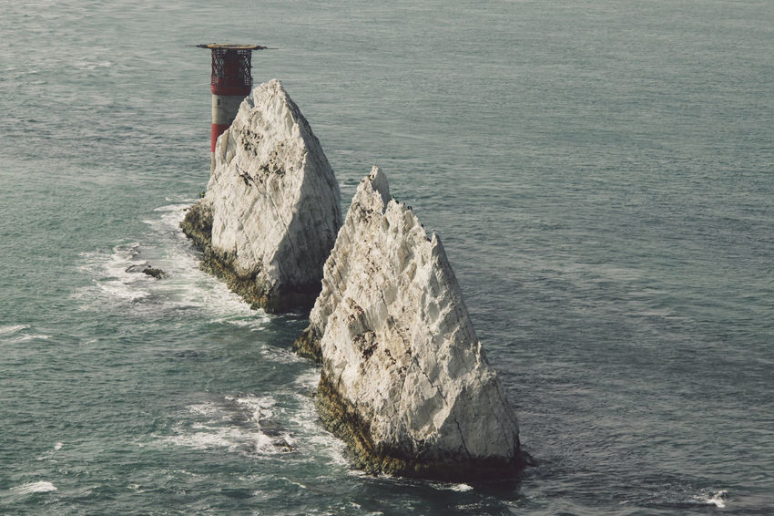 Cliff Coastline Escapism Exploring Horizon Over Water Isle Of Wight  Lighthouse Ocean Outdoors Rock Rock - Object Rock Formation Rocks And Water Rough Scenics Sea Stone Sunny The Needles The Needles .west Wight. Tranquil Scene Vacation A Bird's Eye View Water The Great Outdoors - 2016 EyeEm Awards
