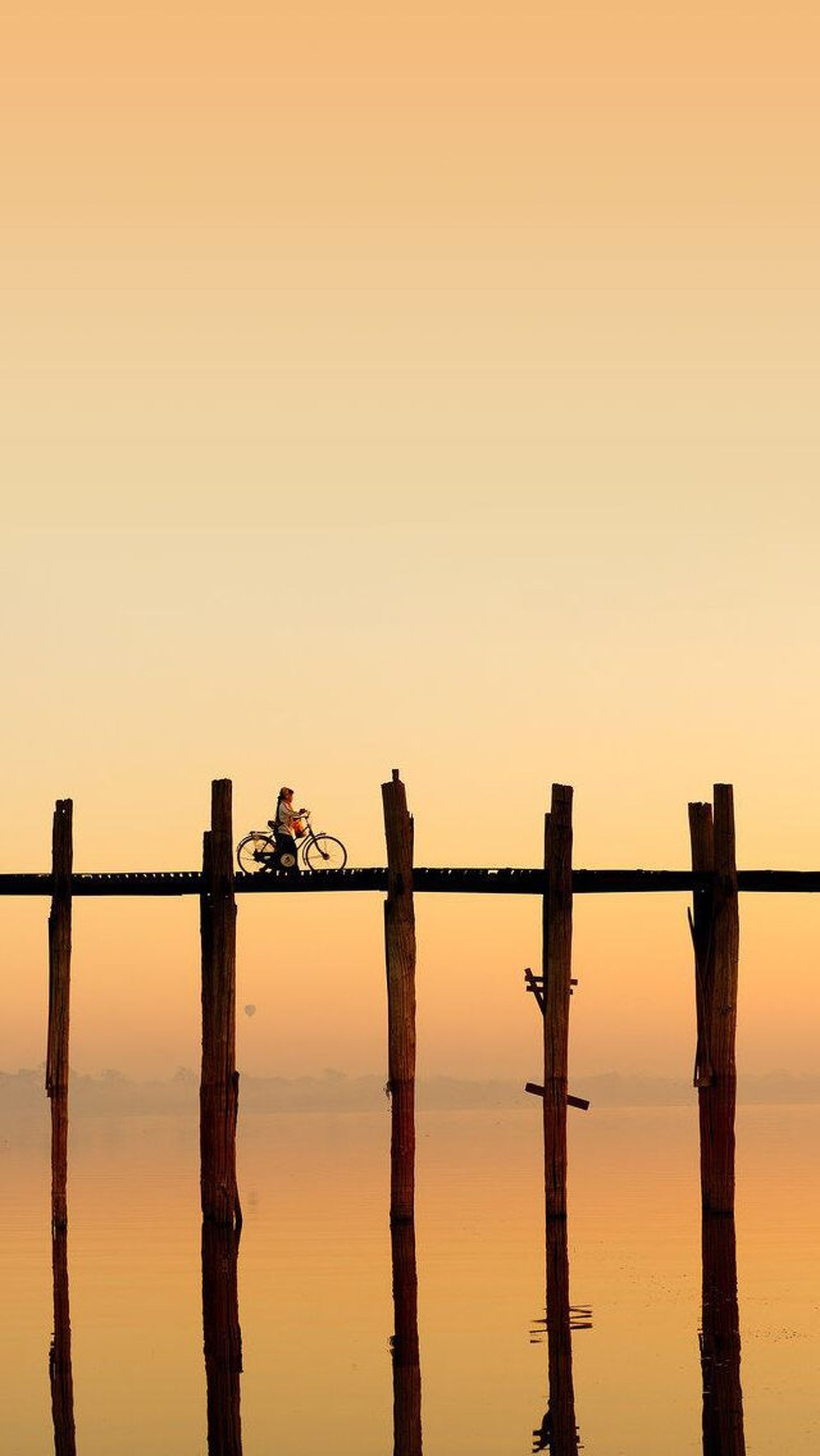 sunset, silhouette, water, wooden post, sea, animal themes, clear sky, nature, tranquility, copy space, perching, bird, sky, orange color, tranquil scene, beauty in nature, pier, wood - material, wildlife, scenics