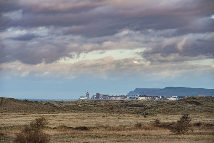 View of Redcar from South Gare. Redcar Teesside Yorkshire Uk England North East North East England Europe European  South Gare Sky Cloud - Sky Environment Climate Scenics - Nature Nature Landscape No People Horizon Over Land Field Grass Tranquil Scene Beauty In Nature Land Tranquility