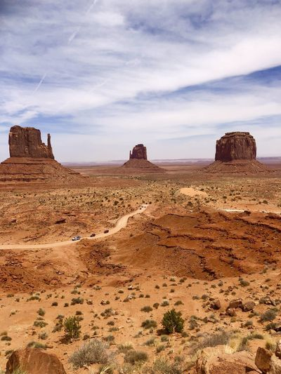 Scenic view of rock formations against sky
