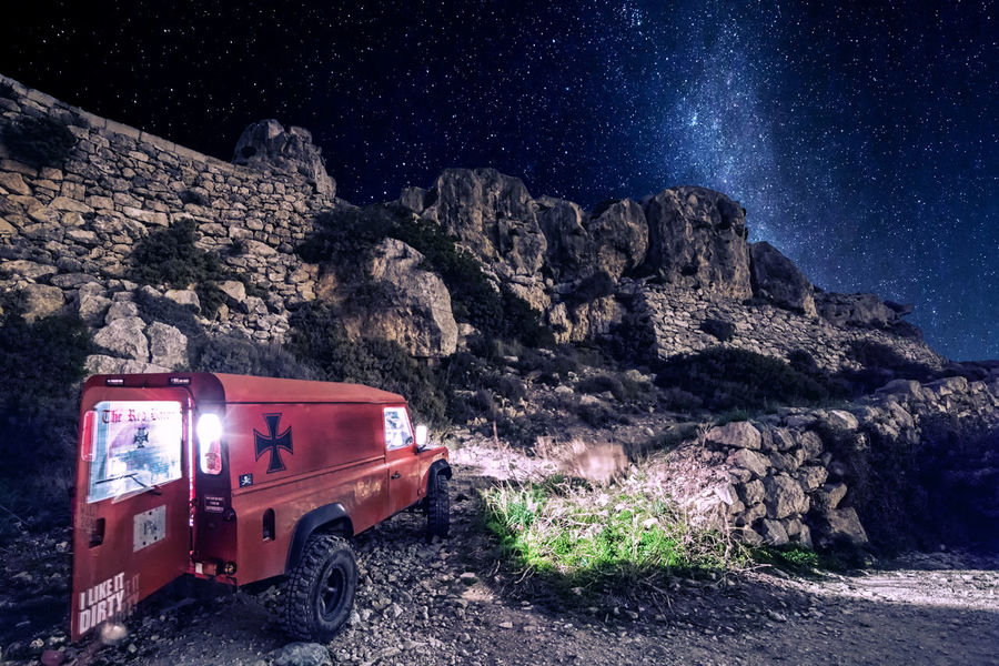 Defender 110 Adventures 110 Expedition Land Rover Off-Road Adventure Astronomy Defender 110 Galaxy Land Rover Defender Land Vehicle Landrover  Landscape Landy Mountain Nature Night No People Off-road Vehicle Off-roading Offroad Offroading Outdoors Red Rock - Object Sky Star - Space Transportation Trek