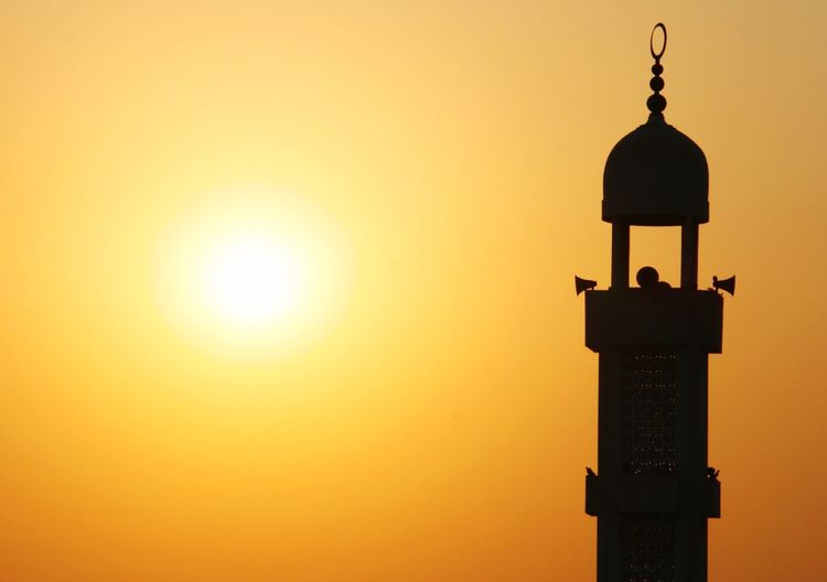 Silhouette Of Minaret During Sunset