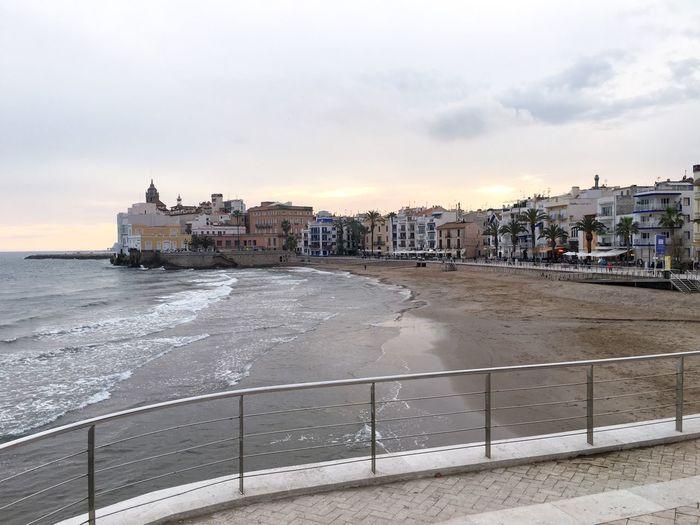 Beach Sea And Sky Sky Skyporn Sea Mediterranean  Sitges Town Landscape