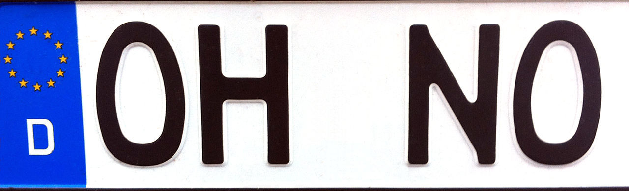 License Plate Close-up Communication Day Germany No People Number Plate Oh No