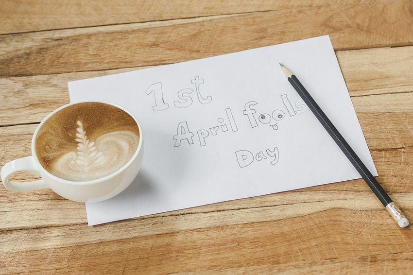 April fool's day April April Fool's Day April Fools Close-up Day Desk Directly Above Fools Healthy Eating High Angle View Indoors  No People Paper Table Wood - Material